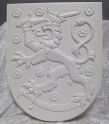 Vaakuna Suomileijona, jättikoko, 37x47cm, valkoinen paino 185g