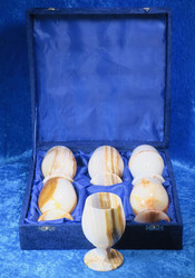 Kivipikarisetti onyksmarmoripikarit, 6 kpl setti, 7,5x12,5cm