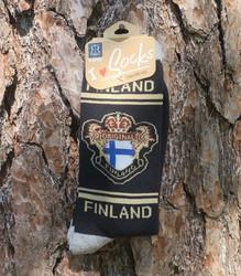 Nilkkasukat Suomen lippu original FINLAND musta, koko 40-45