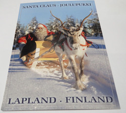 Postikortti Joulupukki poron kyydissä, Lapland-Finland