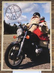 Postikortti Joulupukki ajaa moottoripyörällä