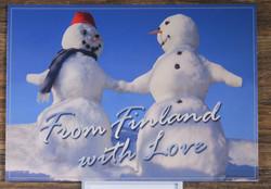 Postikortti lumiukot käsi kädessä. From Finland with love