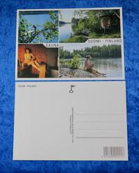 Postikortti SAUNA nainen saunassa, rannalla ja laiturilla