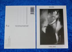 Postikortti SAUNA nainen hauduttaa saunavihtaa kiukaalla