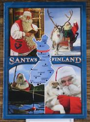 Postikortti Suomen kartta ja joulupukki Santa´s Finland