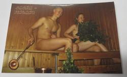 Postikortti Saunassa pariskunta ja vihdat