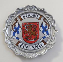Magneetti: Suomi-Finland, liput ja vaakuna, alumiinimagneetti