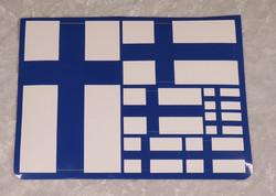 Tarra-arkki  Suomenlippu  lajitelma eri kokoisia lipputarroja