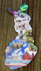 Magneetti: Suomen kartta ja nähtävyydet, 5,3x10,5cm