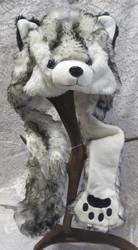 Hattu Husky koira, lasten talvihattu S-koko kids