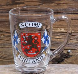 Muki Suomi-Finland, liput vaakunalla, aitokulta, lasimuki 3dl