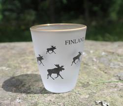 Snapsilasi Hirvi, Finland, huurrettu, reuna aitokullattu