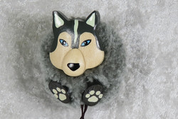 Magneetti Husky koira, pompom-lankatupsu