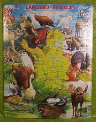 Palapeli lapin kartta ja eläimiä 28,5x36,5cm 75palaa