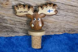 Viinipullonkorkki Hirvi, sarvissa suomenlippu ja Finland tai Lapland