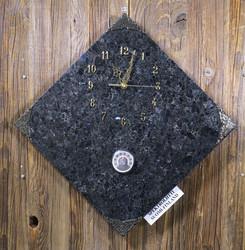 Seinäkello spektroliitti 30x30cm, kulmittain, lämpömittari nro 54-1