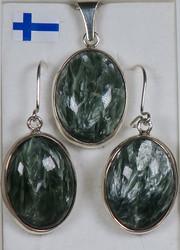 Korusetti: klinokloori (serofinit) korvakorut ja riipus, ovaali, 925-hopea-silver
