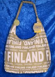 Olkalaukku city bag, kulta/valkoinen Finland-teksti,vetoketjulla