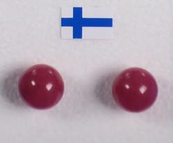 Nappikorvakorut: Kvartsi, punainen 'karpalo' 8mm, värjätty