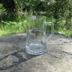 Oluttuoppi lasituoppi  0,5l kyljessä tinahirvi
