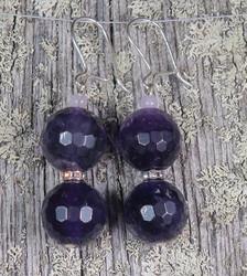 Korvakorut ametisti tummat 12mm viistehiotut zirkonikoristein