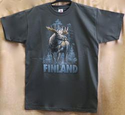 T-paita Hirvi -Finland, graniitinharmaa suomipaita