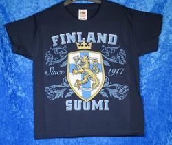 T-paita Suomileijona 1917 Suomi-Finland, 116cm lasten suomipaita, kids