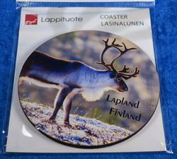 Lasinalunen: poro, Lapland Finland, n. 10cm pyöreä, kova (coaster)