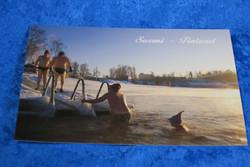 Postikortti saunasta avantouinnille, Suomi Finland-teksti