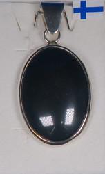 Riipus hematiitti, kivi 20x30mm, kokonaispituus 42mm, 925-hopea