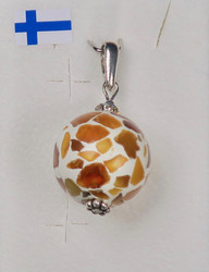 Riipus meripihka breksia zirkonikoristein 925-hopea-silver