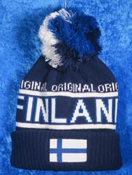 Suomipipo jossa suomenlippu ja Finland, iso tupsu nro f21b