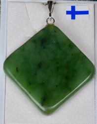 Riipus nefriitti, litteä, neliskulmainen, riipuslenkki 925-hopea