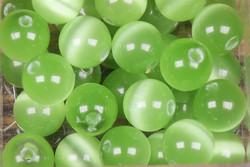 Kissansilmä kuitulasi vaaleanvihreä 8mm  irtohelmi