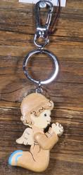 Avaimenperä enkeli, rukoileva pikkuenkeli puuta 6cm