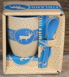 Espressokuppi ja lusikka Poro, Finland. Beige/sininen, f99d