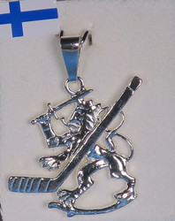 Hopeariipus Lätkäleijona 22mm kokonaispituus 28mm 925-hopea