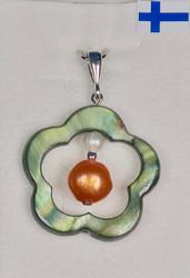 Riipus: Simpukkakukka 25mm, keskellä oranssi helmi