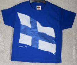 T-paita Suomenlippu liehuva, royal sininen lasten 104cm kids