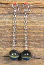 Korvakorut: Haukansilmäkorvakorut 16mm hopeiset ketjukorvakorut. Uniikki!