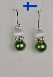 Korvakorut: helmi/lasikorvakorut zirkonikoristein (vihreä/valkoinen)