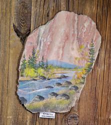 Taulu: dolomiitille tehty maisemakuva kivimurskalla, ilman kehyksiä