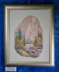 Taulu: Lapin ruska joella. Kuva tehty kivimurskalla dolomiitille. (k)