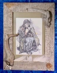 Taulu vanha shamaani 28x37cm, lasitettu Kelopuukehys  (a) Ranttila