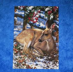 Postikortti peuran vasa  bambi makuulla pihlajan alla