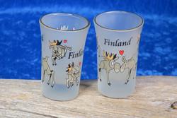 Shottilasi: Hirvet rakastelemassa, Finland, huurrettu lasi