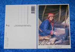 Postikortti Saamelaiset -emäntä kahvin keitolla