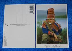 Postikortti Saamelaiset poika ja suopunki