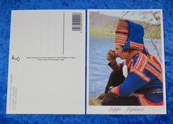 Postikortti Saamelaiset nuori mies kahvilla joen rannalla