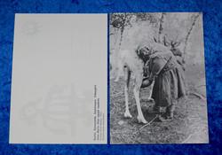 Postikortti Anna lypsää poroa v.1933, mustavalkoinen